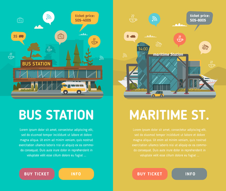 main entrance: Two banners. Bus station with icons, text, buttons and background. Maritime station with information. Illustration