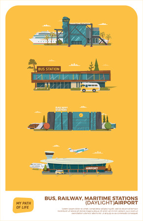 daylight: Stations Vector Set. Daylight version.