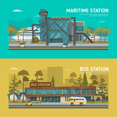 carro caricatura: estaciones marítimas y autobús. Luz. Vectores