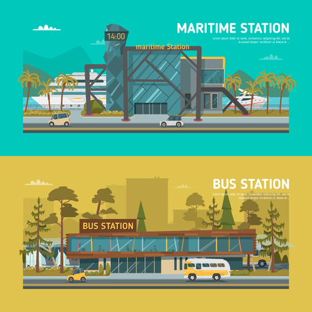 main entrance: Maritime and bus stations. Daylight.