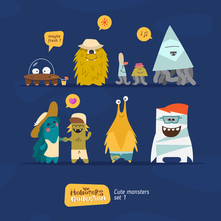 bacteria cartoon: Monsters collection. Funny characterts in cartoon style Illustration