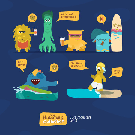 Monsters collection. Funny characterts in cartoon style Illustration
