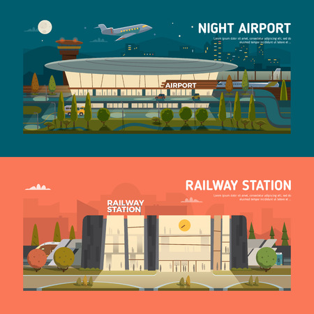 main entrance: Evening railway station and night airport.