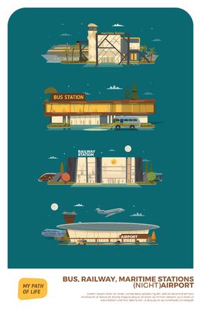 tren caricatura: Autobuses, marítimas, estaciones de ferrocarril y aeropuertos. Versión de la noche con las estrellas y la luna
