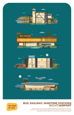 modern train: Bus, maritime, railway stations and airport. Night version with stars and moon