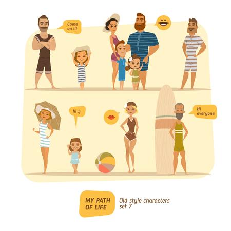 enamorados caricatura: estilo de personajes de época. El horario de verano. Vectores