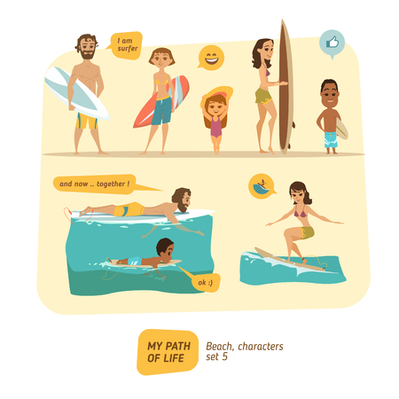 Summer characters collection. Vector set.