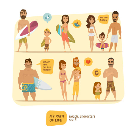 Summer characters collection. Vector set.  Çizim