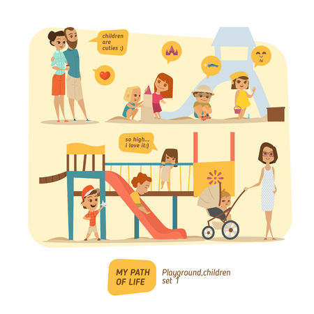 sisters: Children are happy on the playground. EPS 10 Illustration