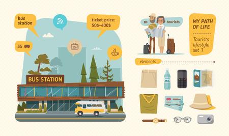 main street: Bus station information. Travel set.   Illustration