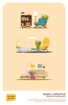 cartoon clock: Some furniture set. Three variations.