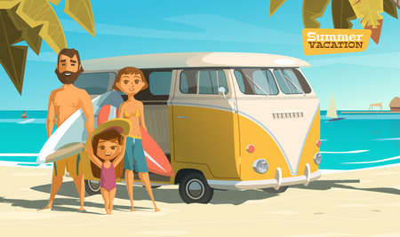 family trip: Surfing in this summer. Enjoy it. EPS 10
