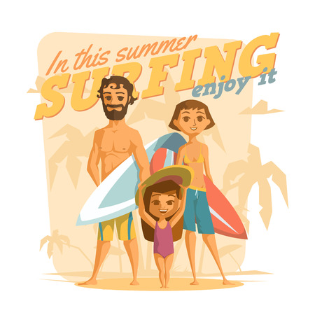 sunny: Surfing in this summer.   Illustration