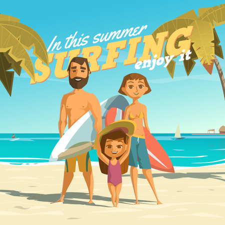 family trip: Surfing in this summer.   Illustration