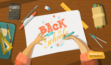 Pupil on top view. Drawing.