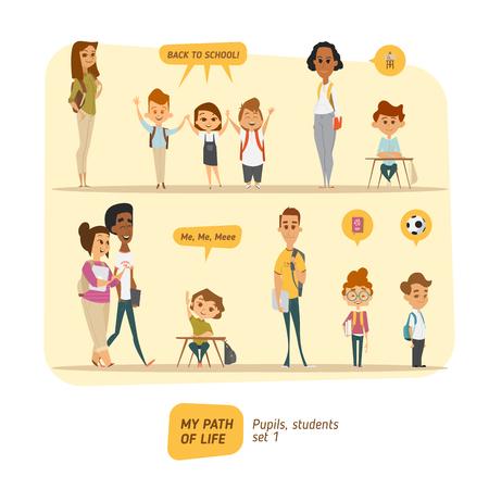 Les élèves et étudiants vector set. style de caractère de bande dessinée.