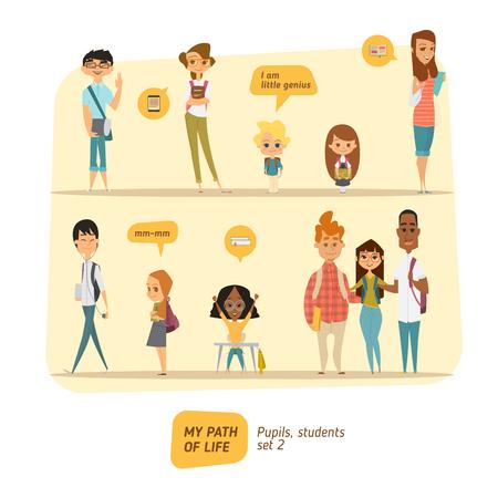 clase media: Los alumnos y estudiantes conjunto de vectores. estilo de personaje de dibujos animados.