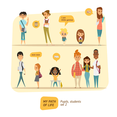 Pupils and students vector set. Cartoon character style. Illustration