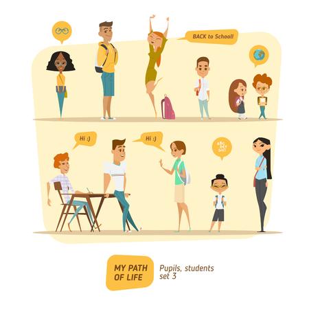 児童・生徒はベクター セットです。漫画文字スタイル。