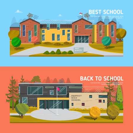 high school: Educate theme vector collection. Architecture. Illustration