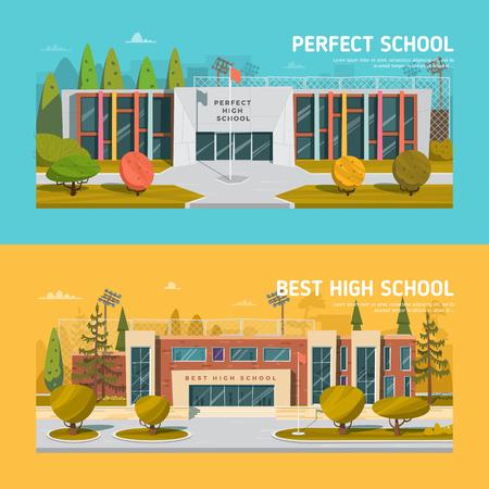 Educate theme vector collection. Architecture. Vettoriali