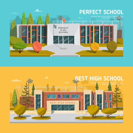 studying classroom: Educate theme vector collection. Architecture. Illustration