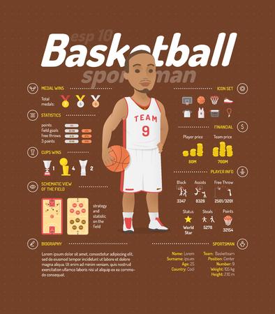 Basketball vector illustration. Sportsmen information.