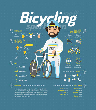 bicycle icon: Cycling vector illustration. Sportsmen information.