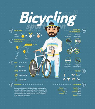 ciclismo: ilustración vectorial ciclismo. información de los deportistas.