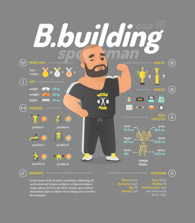 Bodybuilding vector illustration. Sportsmen infographic.