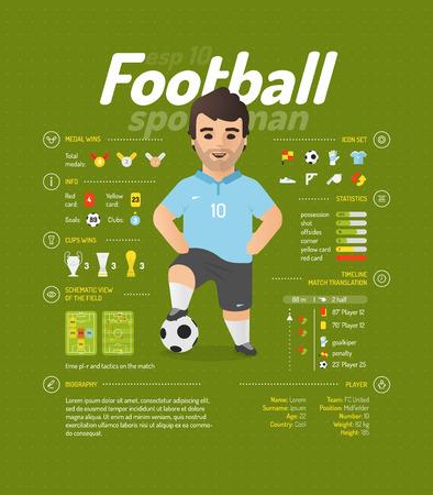 jugador de futbol: ilustración vectorial de fútbol. información del jugador. Vectores