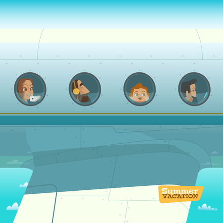Characters in airplane vector illustration.