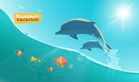dolphins: Dolphin with fish on the sea vector illusrtation.