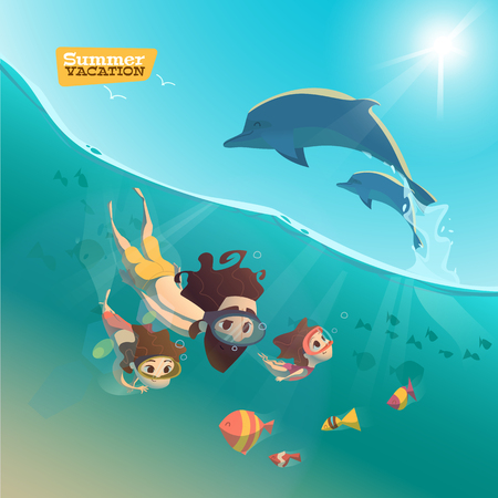 sun beach: Family swimming in ocean. Family underwater time Illustration