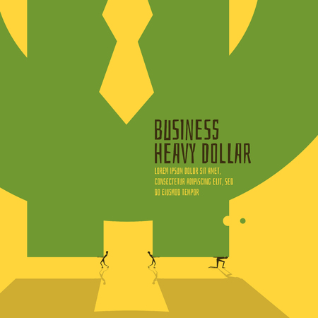 inverse: Business heavy dollar view. Abstract illustration.