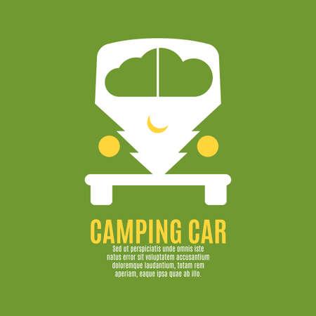 seventies: Camping car vector illustration. Abstract illustration.