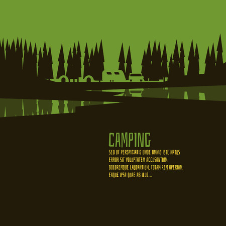 camper: Camping green forest style. Abstract form.  EPS 10