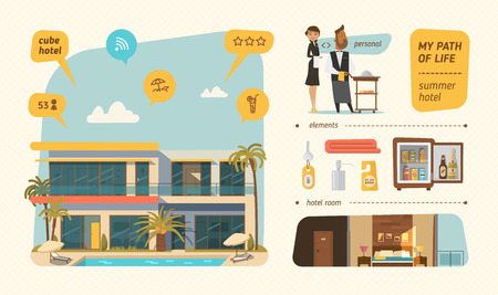 sun bed: Hotel building in summer time. Infographic style. Illustration