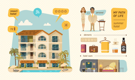 luxury hotel room: Hotel building in summer time. Infographic style. EPS 10