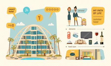 umbrella cartoon: Hotel building in summer time.