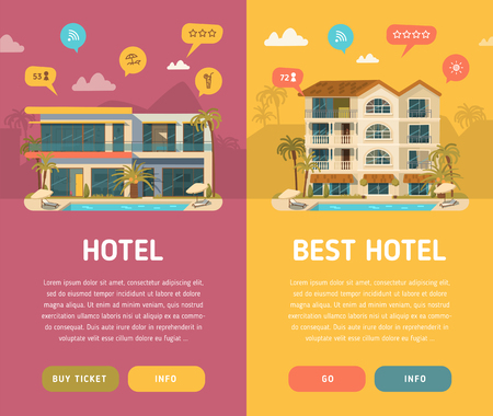 luxury hotel room: Hotel building in summer vacation. Two vertical banners