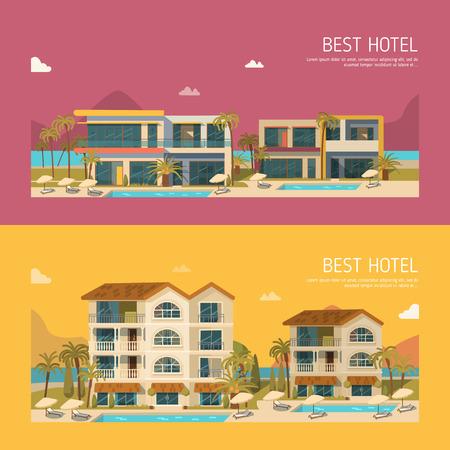 cartoon star: Dos banderas con moderno edificio del hotel. estilo plano Vectores