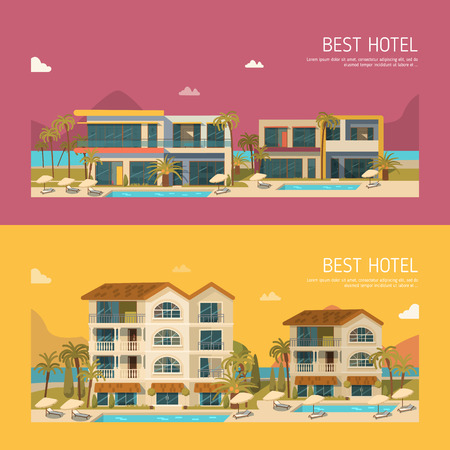 five stars: Two banners with modern hotel building. Flat style
