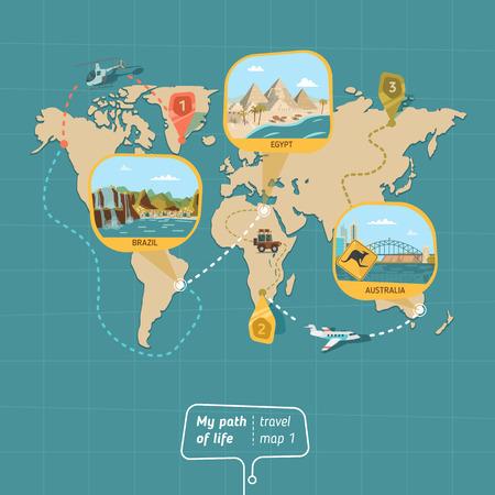 国のベクトル図の旅行地図。パスの旅