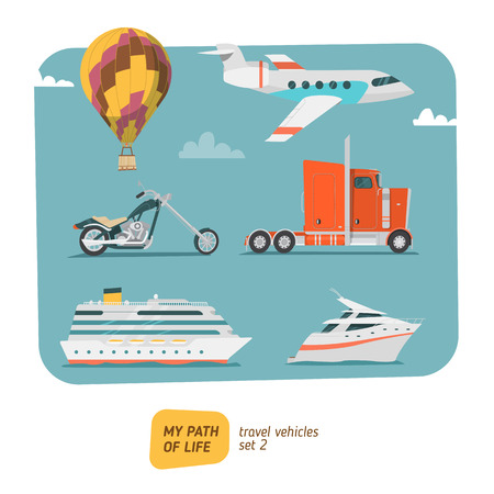 illustration collection: Travel vehicles collection vector illustration. Transports for trip