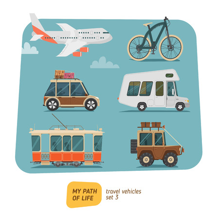 Travel vehicles collection vector illustration. Transports for trip