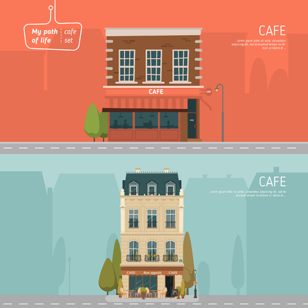 outdoor cafe: Two horizontal banners with cafe buildings on background Illustration