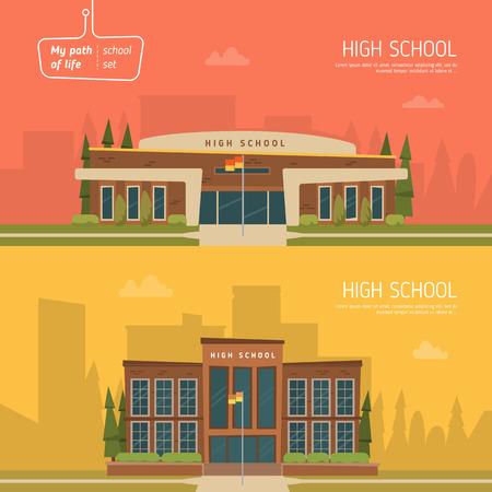 escuela caricatura: Bandera dos horizontal sobre el tema de la educación. Diseño arquitectónico