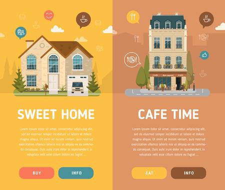 Fachada: Dulce hogar y la ilustración vectorial café. estilo plano