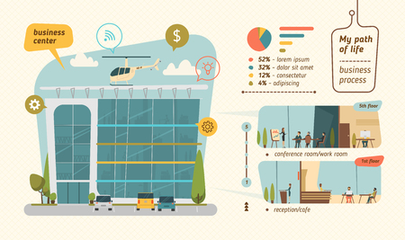 building backgrounds: Business center vector illustration. Infographic flat style